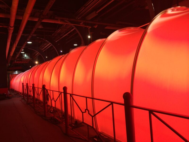 This Limitless Tunnel is 140' long, color changing with light and projection