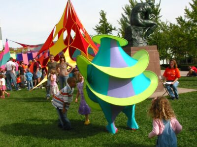FabricAction Fruit Salad Landmark and Live Performance of Hoopla and generally curious kids!