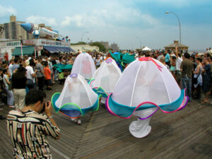 JellyFish for the Coney Island Mermaid Parade on the boardwalk. Sea Creature Costumes and Kelp Soft Sculptures
