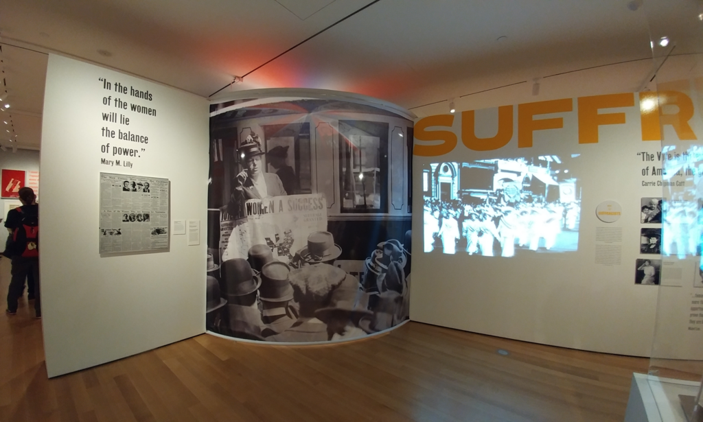 "The Museum of the City of New York was preparing a major new exhibit for the fall – ""Beyond Suffrage – A Century of New York Women in Politics"" – and our printed walls are installed with sheer fabric you could see through"