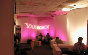 A gobo is used to project YAHOO on Originators Design Curved Portable Stretch Fabric Walls
